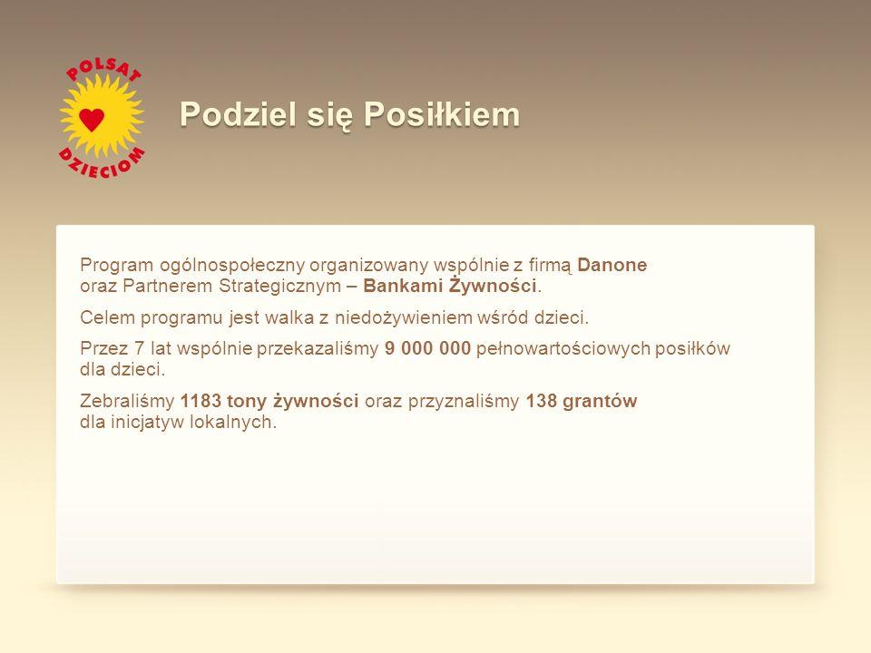 Program ogólnospołeczny organizowany wspólnie z firmą Danone oraz Partnerem Strategicznym – Bankami Żywności. Celem programu jest walka z niedożywieni