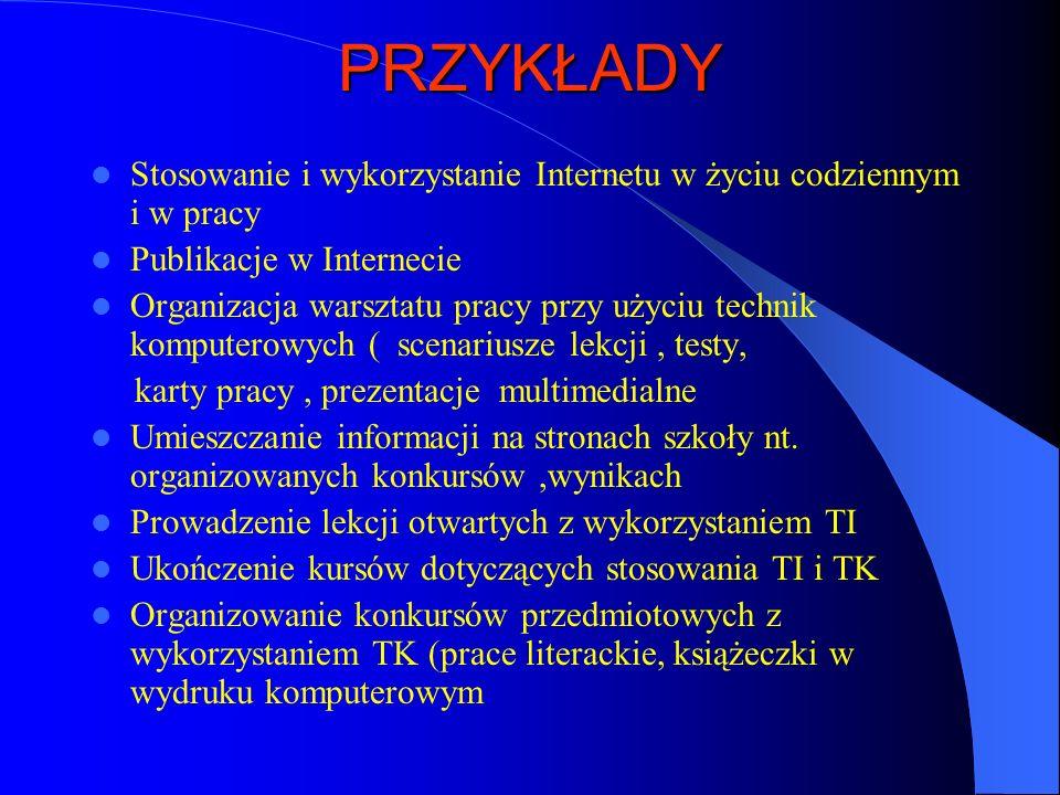 PRZYKŁADY Stosowanie i wykorzystanie Internetu w życiu codziennym i w pracy Publikacje w Internecie Organizacja warsztatu pracy przy użyciu technik ko