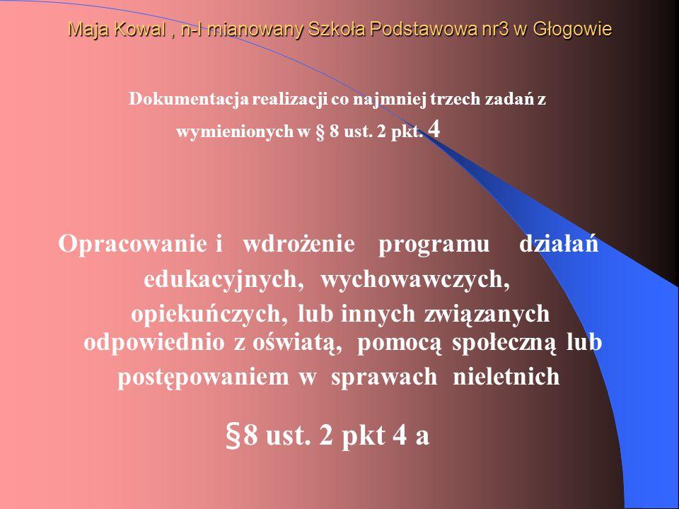 Maja Kowal, n-l mianowany Szkoła Podstawowa nr3 w Głogowie Dokumentacja realizacji co najmniej trzech zadań z wymienionych w § 8 ust. 2 pkt. 4 Opracow