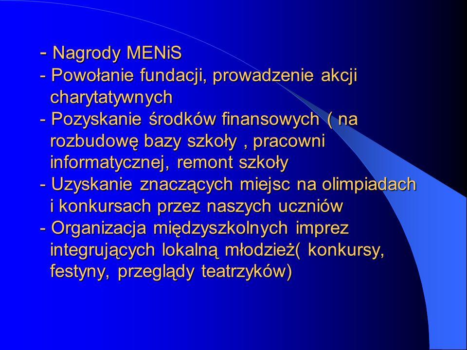 - Nagrody MENiS - Powołanie fundacji, prowadzenie akcji charytatywnych - Pozyskanie środków finansowych ( na rozbudowę bazy szkoły, pracowni informaty