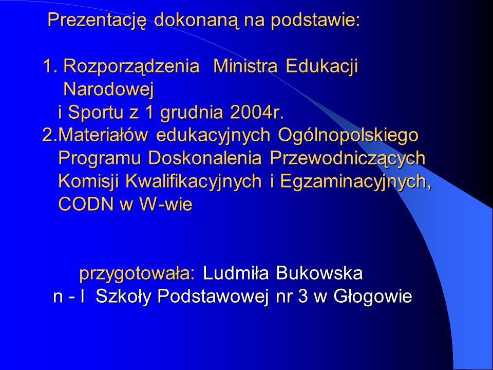 Prezentację dokonaną na podstawie: 1. Rozporządzenia Ministra Edukacji Narodowej i Sportu z 1 grudnia 2004r. 2.Materiałów edukacyjnych Ogólnopolskiego