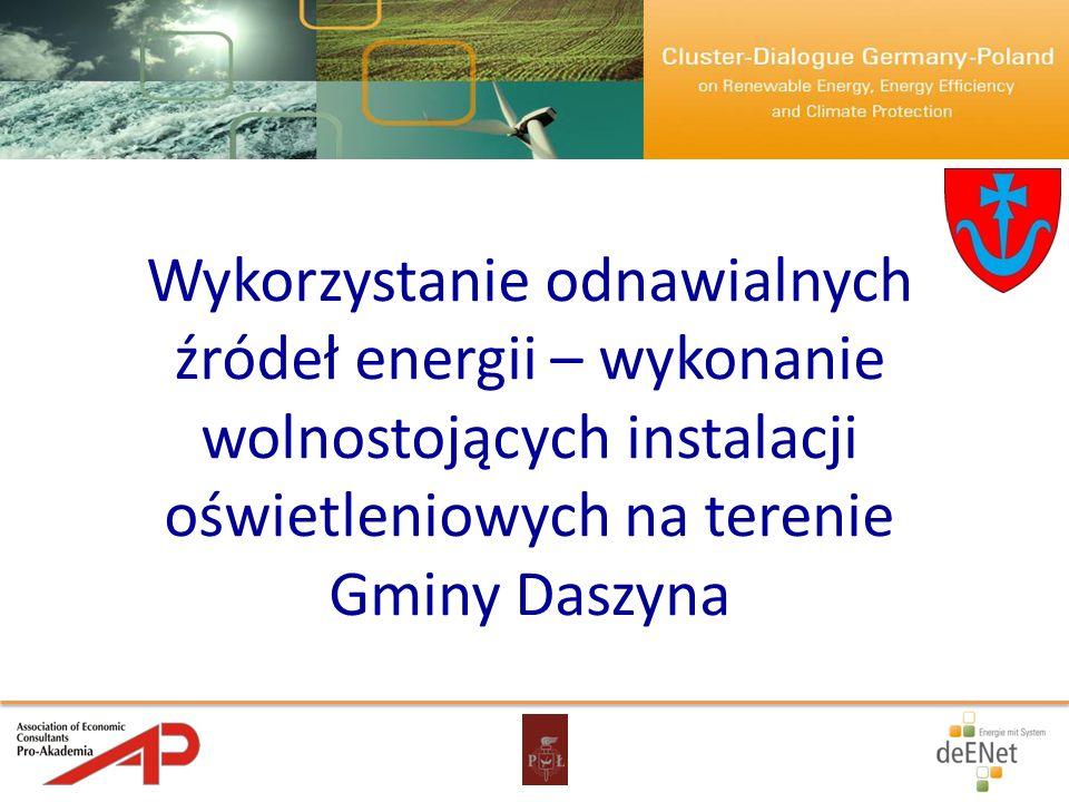 Wykorzystanie odnawialnych źródeł energii – wykonanie wolnostojących instalacji oświetleniowych na terenie Gminy Daszyna