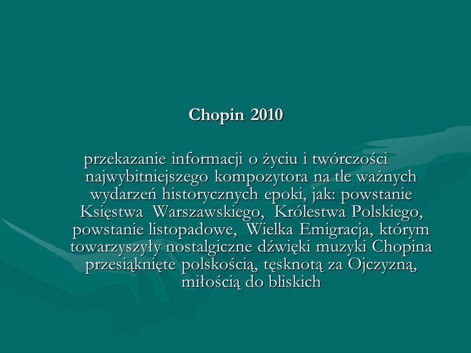 Chopin 2010 przekazanie informacji o życiu i twórczości najwybitniejszego kompozytora na tle ważnych wydarzeń historycznych epoki, jak: powstanie Księ