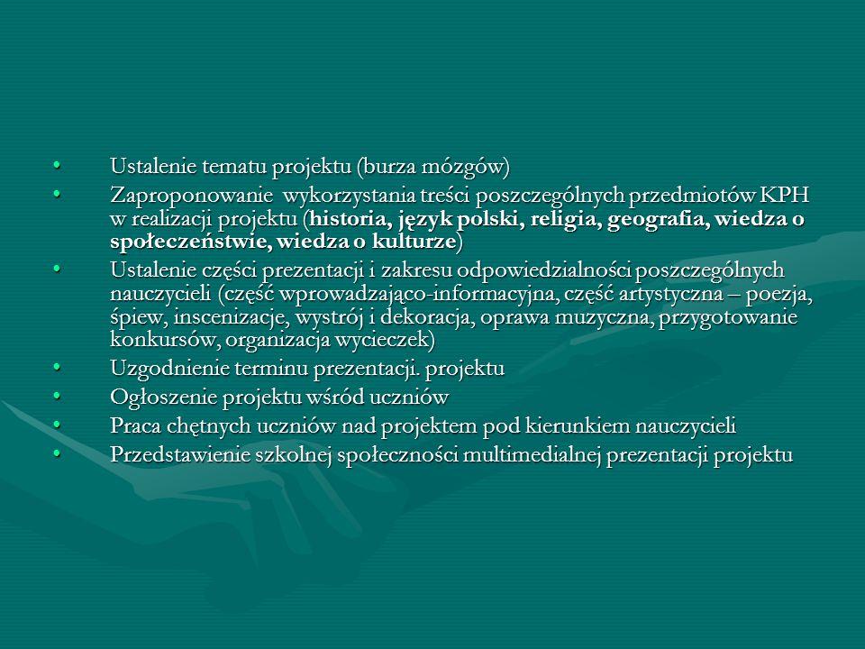 Ustalenie tematu projektu (burza mózgów)Ustalenie tematu projektu (burza mózgów) Zaproponowanie wykorzystania treści poszczególnych przedmiotów KPH w