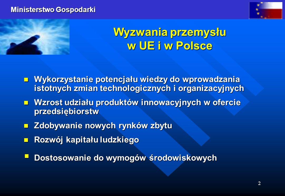 Ministerstwo Gospodarki 2 Wyzwania przemysłu w UE i w Polsce Wykorzystanie potencjału wiedzy do wprowadzania istotnych zmian technologicznych i organi