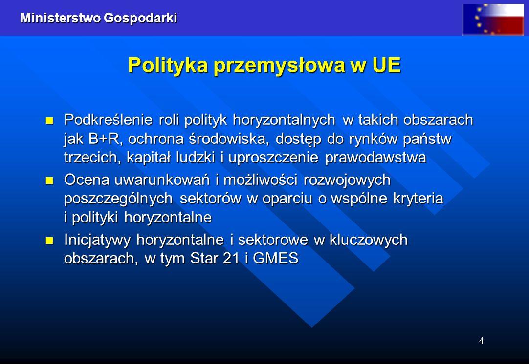 Ministerstwo Gospodarki 4 Polityka przemysłowa w UE Podkreślenie roli polityk horyzontalnych w takich obszarach jak B+R, ochrona środowiska, dostęp do