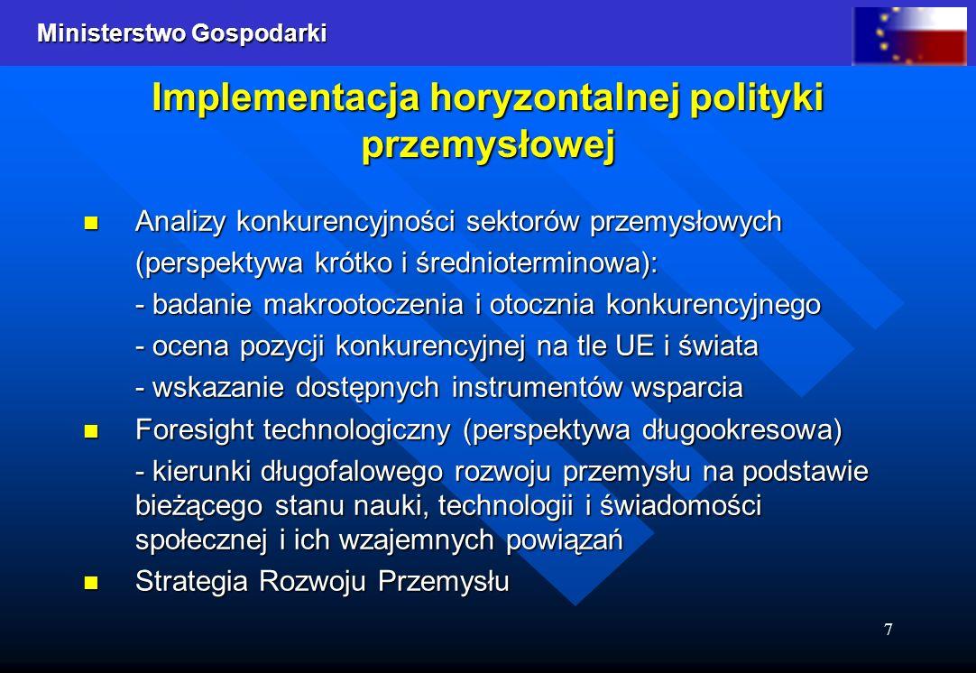 Ministerstwo Gospodarki 7 Implementacja horyzontalnej polityki przemysłowej Analizy konkurencyjności sektorów przemysłowych Analizy konkurencyjności s