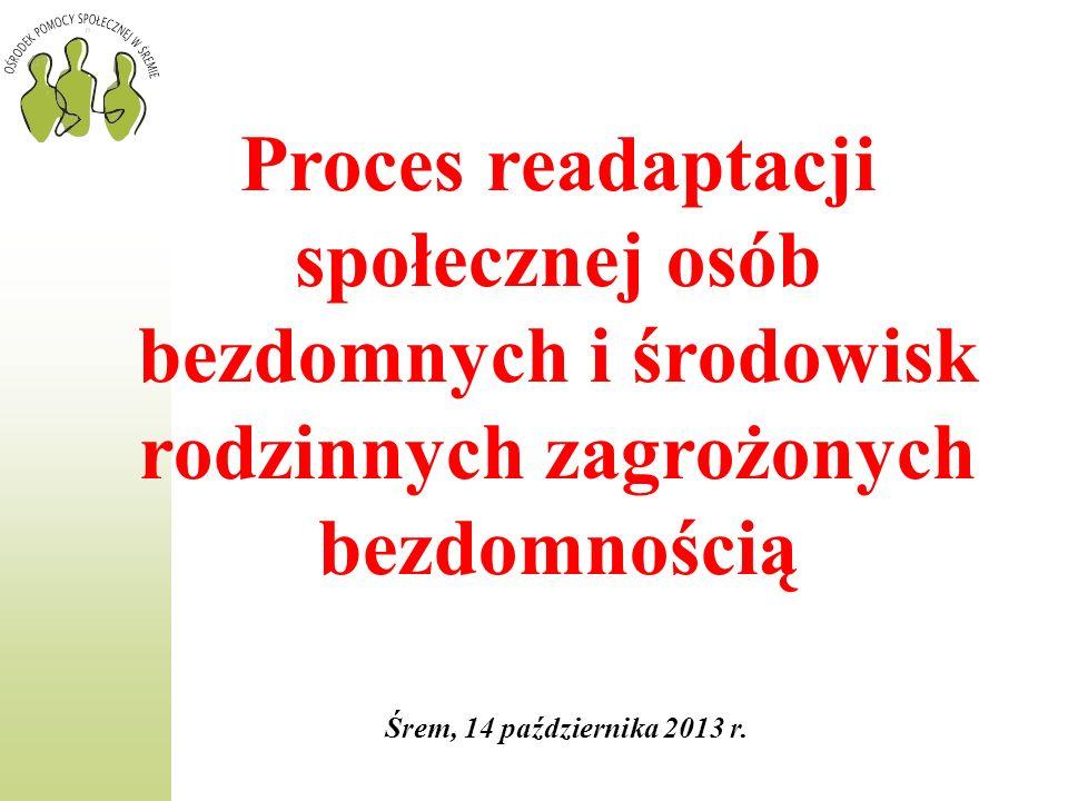 Proces readaptacji społecznej osób bezdomnych i środowisk rodzinnych zagrożonych bezdomnością Śrem, 14 października 2013 r.