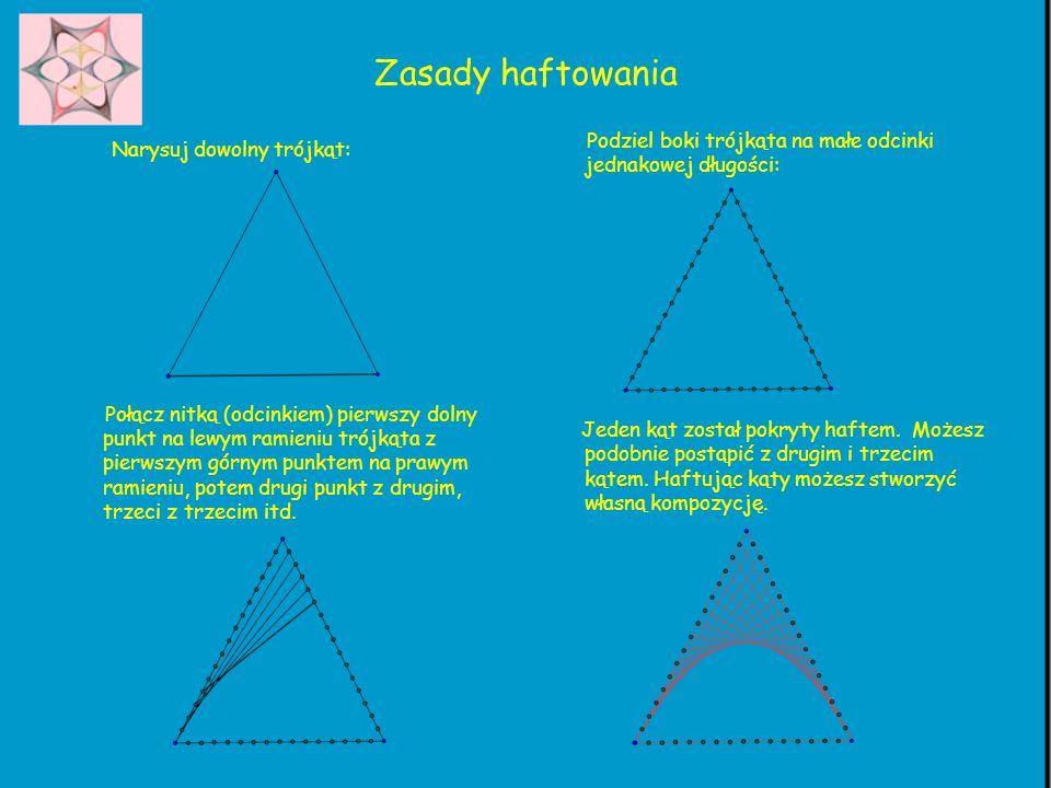 Zasady haftowania Narysuj dowolny trójkąt: Połącz nitką (odcinkiem) pierwszy dolny punkt na lewym ramieniu trójkąta z pierwszym górnym punktem na praw