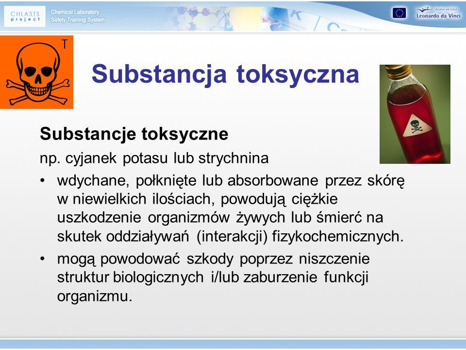 Substancja toksyczna Substancje toksyczne np. cyjanek potasu lub strychnina wdychane, połknięte lub absorbowane przez skórę w niewielkich ilościach, p