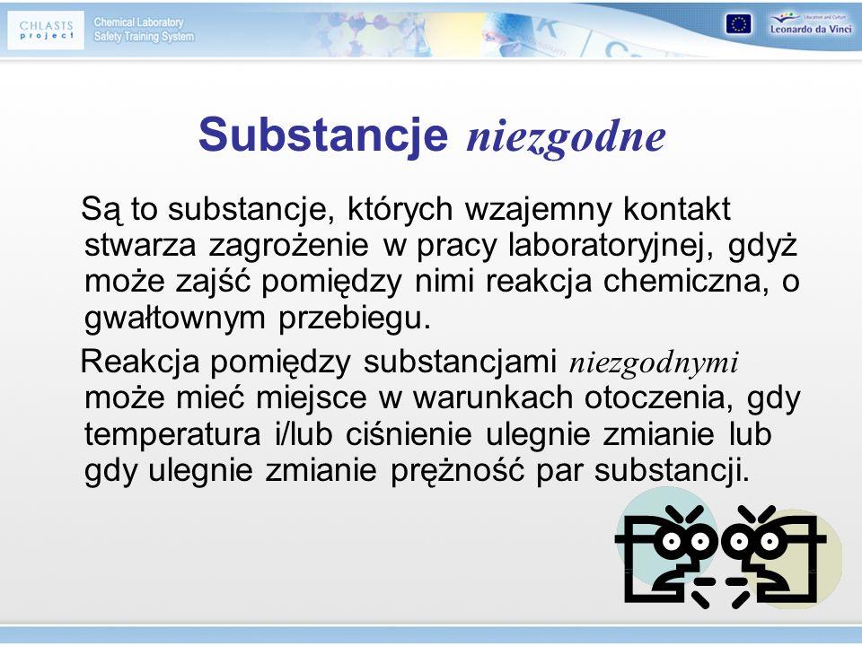Substancje niezgodne Są to substancje, których wzajemny kontakt stwarza zagrożenie w pracy laboratoryjnej, gdyż może zajść pomiędzy nimi reakcja chemi