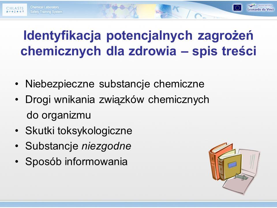 Identyfikacja potencjalnych zagrożeń chemicznych dla zdrowia – spis treści Niebezpieczne substancje chemiczne Drogi wnikania związków chemicznych do o