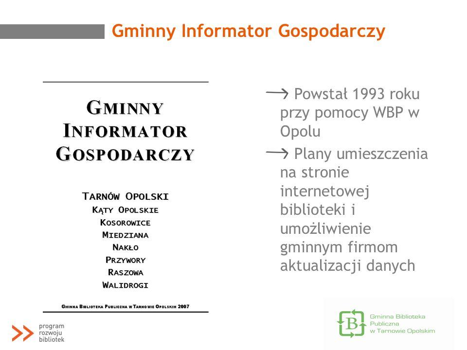 Gminny Informator Gospodarczy Powstał 1993 roku przy pomocy WBP w Opolu Plany umieszczenia na stronie internetowej biblioteki i umożliwienie gminnym f