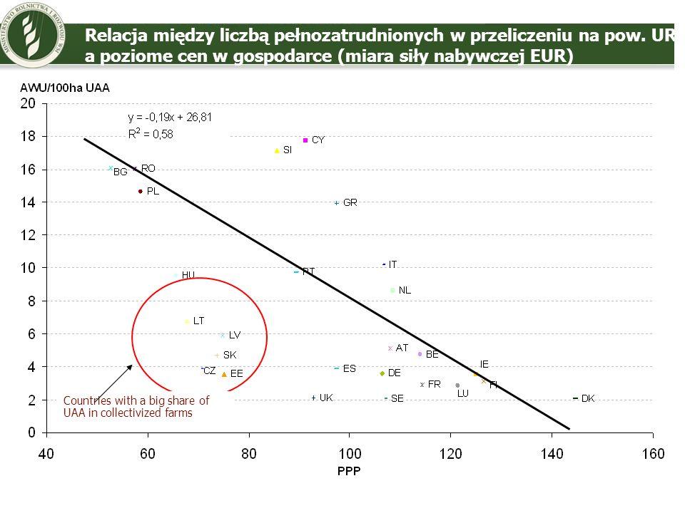 Relacja między liczbą pełnozatrudnionych w przeliczeniu na pow. UR a poziome cen w gospodarce (miara siły nabywczej EUR) Countries with a big share of