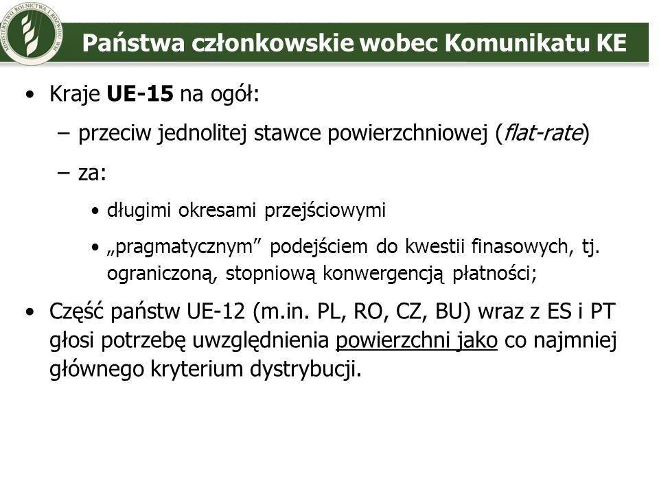 Państwa członkowskie wobec Komunikatu KE Kraje UE-15 na ogół: –przeciw jednolitej stawce powierzchniowej (flat-rate) –za: długimi okresami przejściowy