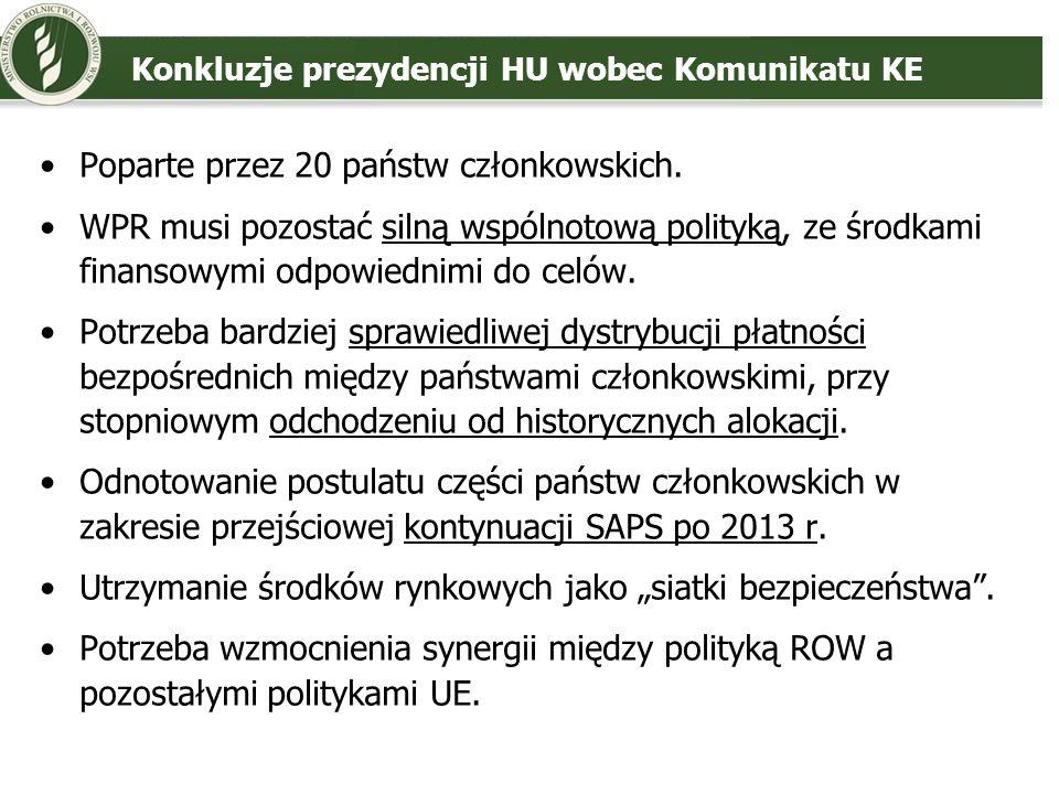 Konkluzje prezydencji HU wobec Komunikatu KE Poparte przez 20 państw członkowskich. WPR musi pozostać silną wspólnotową polityką, ze środkami finansow