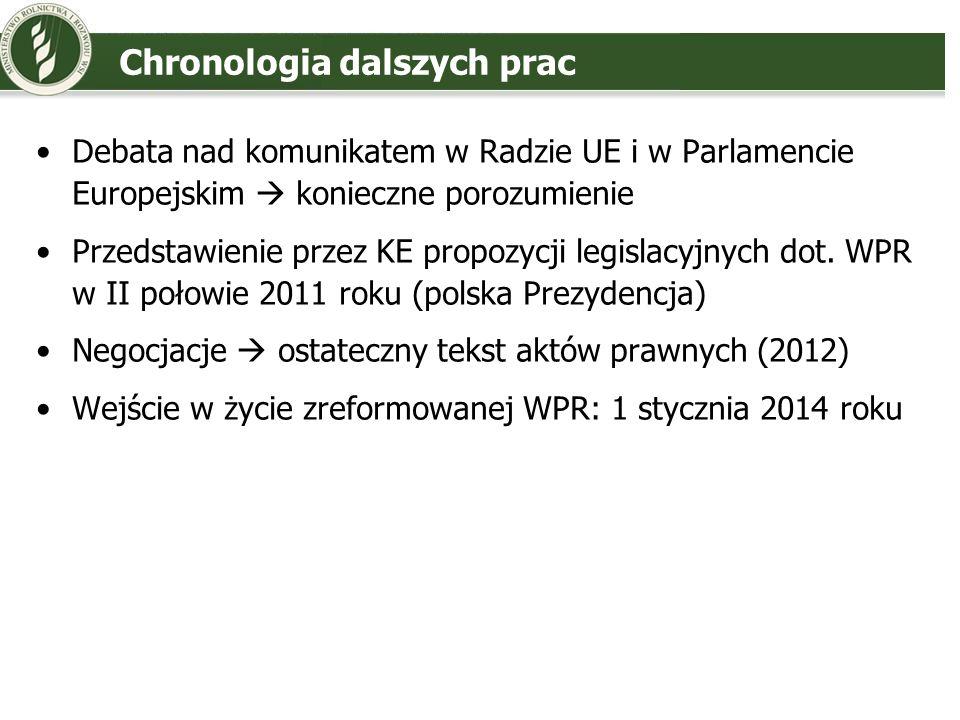Chronologia dalszych prac Debata nad komunikatem w Radzie UE i w Parlamencie Europejskim konieczne porozumienie Przedstawienie przez KE propozycji leg