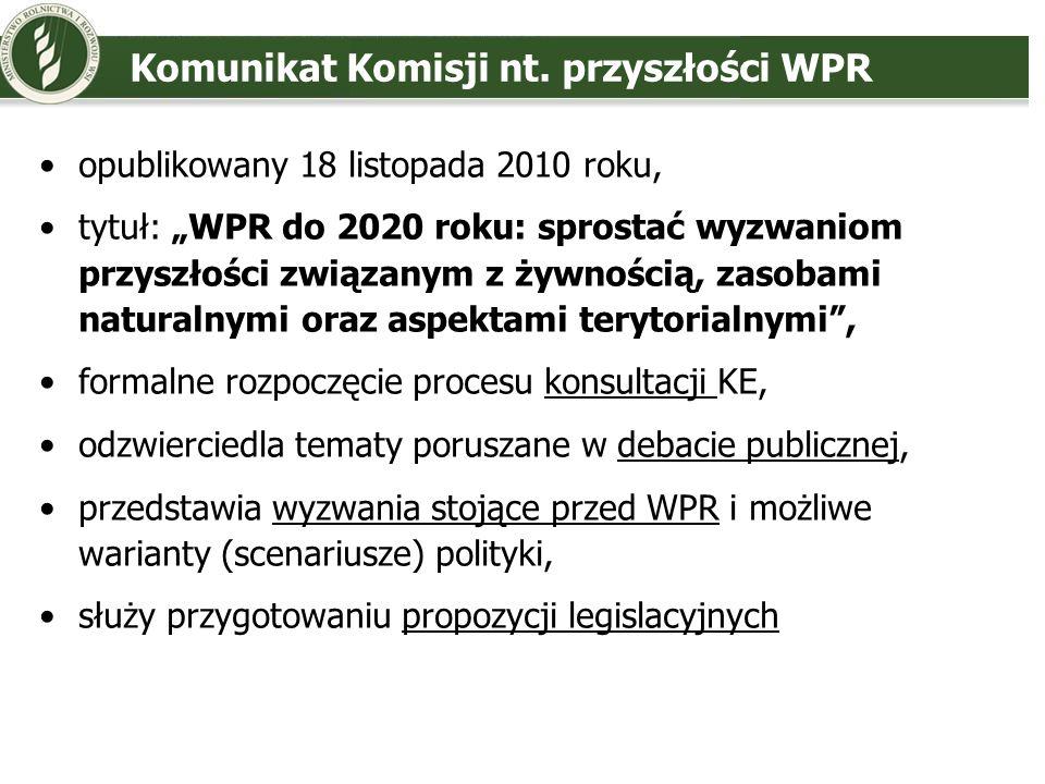 Komunikat Komisji nt. przyszłości WPR opublikowany 18 listopada 2010 roku, tytuł: WPR do 2020 roku: sprostać wyzwaniom przyszłości związanym z żywnośc