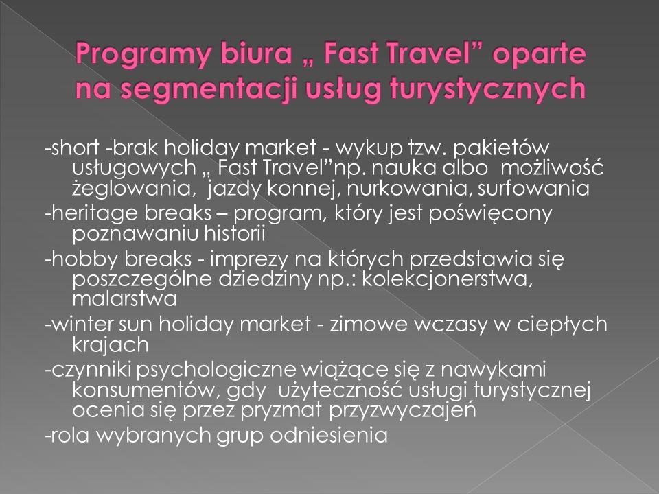 -short -brak holiday market - wykup tzw. pakietów usługowych Fast Travelnp. nauka albo możliwość żeglowania, jazdy konnej, nurkowania, surfowania -her
