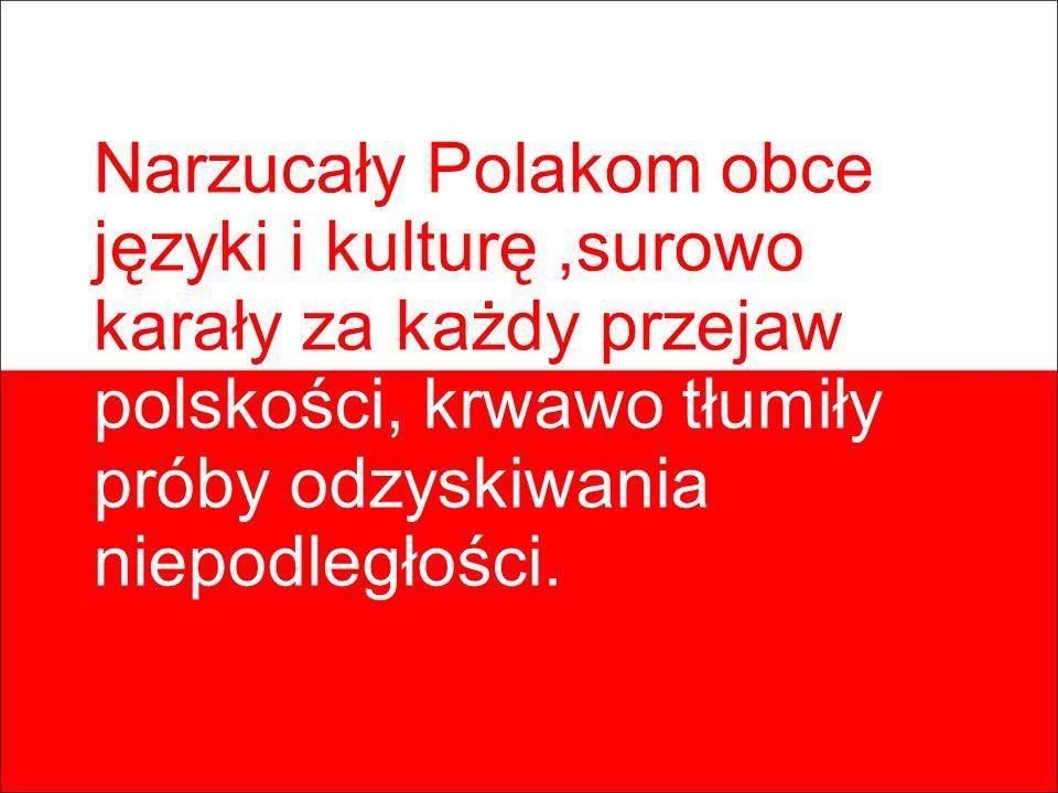 Narzucały Polakom obce języki i kulturę,surowo karały za każdy przejaw polskości, krwawo tłumiły próby odzyskiwania niepodległości.