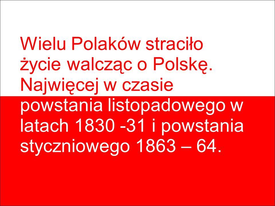 Wielu Polaków straciło życie walcząc o Polskę. Najwięcej w czasie powstania listopadowego w latach 1830 -31 i powstania styczniowego 1863 – 64.