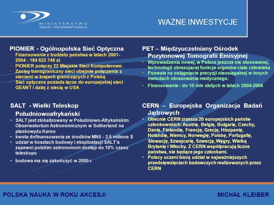 WAŻNE INWESTYCJE PIONIER - Ogólnopolska Sieć Optyczna Finansowanie z budżetu państwa w latach 2001- 2004 - 184 622 748 zł. PIONIER połączy 22 Miejskie