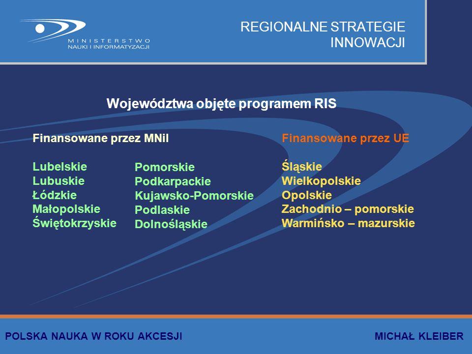 REGIONALNE STRATEGIE INNOWACJI Finansowane przez MNiI Lubelskie Lubuskie Łódzkie Małopolskie Świętokrzyskie Finansowane przez UE Śląskie Wielkopolskie