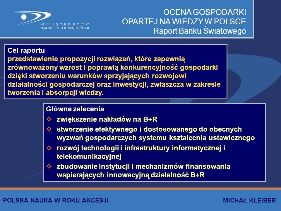 DOKUMENTY STRATEGICZNE Przyjęte przez Radę Ministrów Strategia zwiększania nakładów na działalność B+R w celu osiągnięcia założeń Strategii Lizbońskiej Strategia Informatyzacji e-POLSKA Strategia rozwoju sektora B+R (jako element Narodowego Planu Rozwoju 2004-2006) Opracowywane Założenia polityki naukowej, naukowo-technicznej i innowacyjnej Strategia rozwoju sektora B+R (jako element Narodowego Planu Rozwoju 2007-2013) Wiedza-Informatyzacja-Konkurencyjność – Polska w drodze do Gospodarki Opartej na Wiedzy POLSKA NAUKA W ROKU AKCESJI MICHAŁ KLEIBER