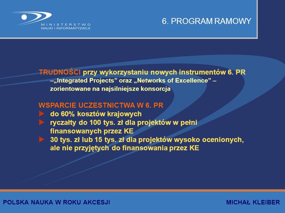 WSPÓLNE PROJEKTY BADAWCZE wspólne projekty badawcze, przyjmowane w drodze konkursu przez komisję wspólną każdy kraj finansuje swoich wykonawców, według własnych reguł pierwsze konkursy Polska-RFN (realizowanych 15 projektów z neurologii) w przygotowaniu Polska-Francja zainteresowanie innych krajów, w tym USA i Japonii POLSKA NAUKA W ROKU AKCESJI MICHAŁ KLEIBER