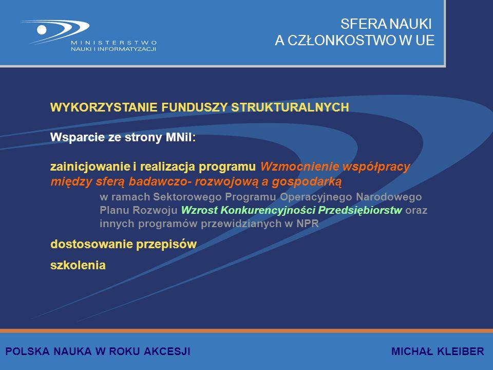 SFERA NAUKI A CZŁONKOSTWO W UE WYKORZYSTANIE FUNDUSZY STRUKTURALNYCH Wsparcie ze strony MNiI: zainicjowanie i realizacja programu Wzmocnienie współpra