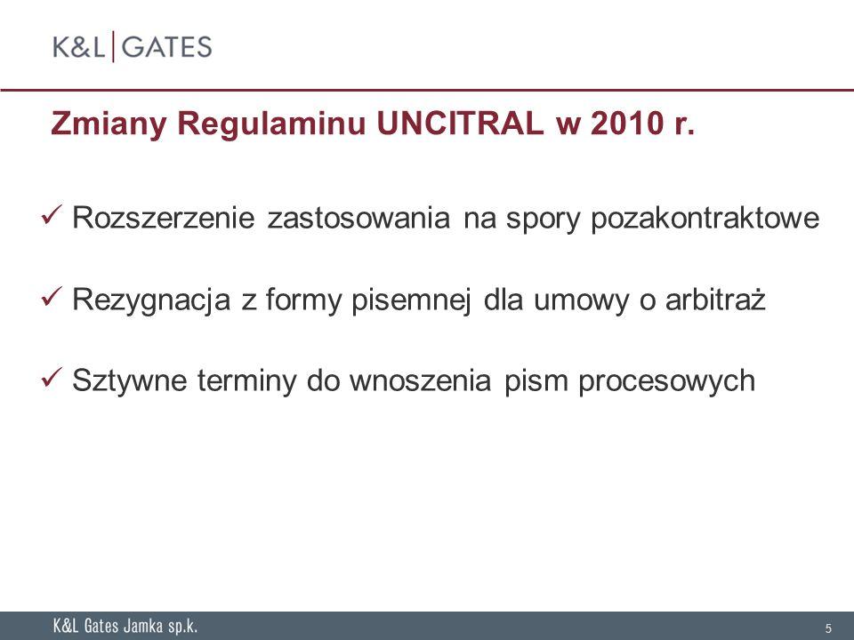 4 UNCITRAL v. ICC et al. Zależność od sądów krajowych Instytucjonalizacja postępowania Organizacja & logistyka postępowania Elastyczność & możliwość z