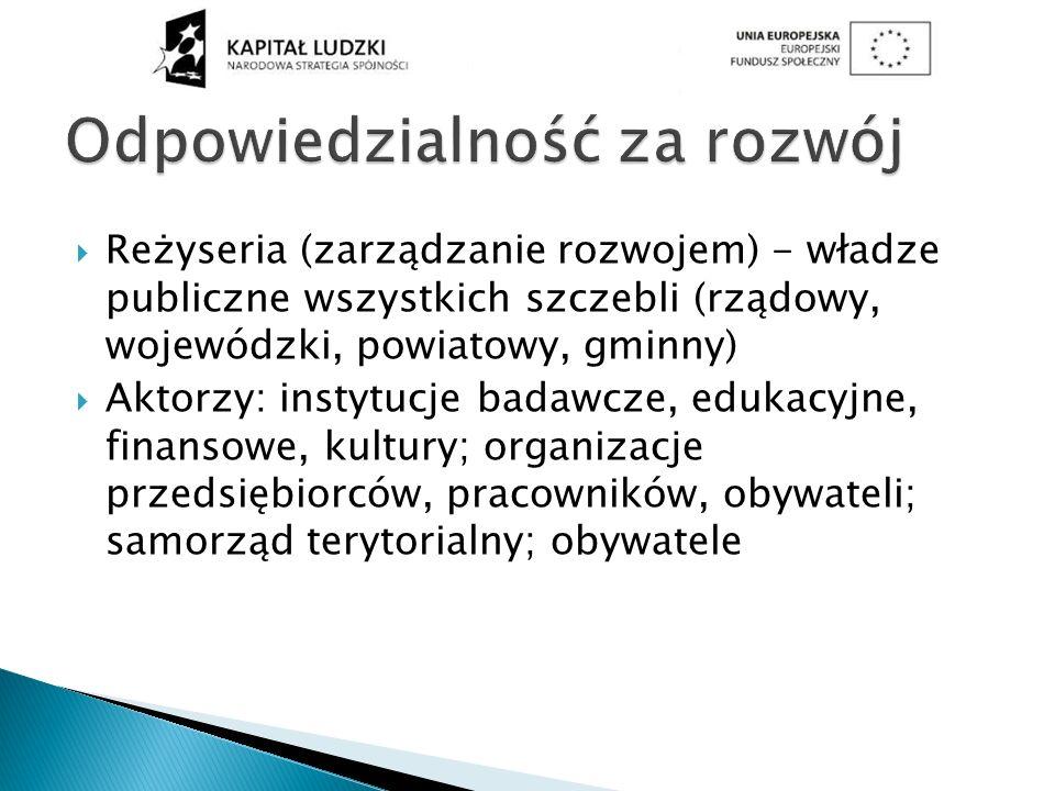 Reżyseria (zarządzanie rozwojem) - władze publiczne wszystkich szczebli (rządowy, wojewódzki, powiatowy, gminny) Aktorzy: instytucje badawcze, edukacy