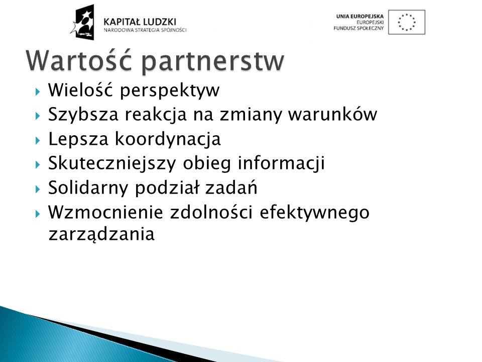 Wielość perspektyw Szybsza reakcja na zmiany warunków Lepsza koordynacja Skuteczniejszy obieg informacji Solidarny podział zadań Wzmocnienie zdolności