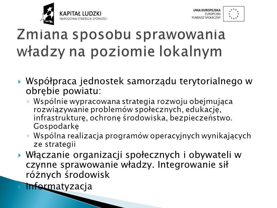 Współpraca jednostek samorządu terytorialnego w obrębie powiatu: Wspólnie wypracowana strategia rozwoju obejmująca rozwiązywanie problemów społecznych