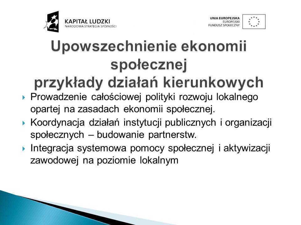 Prowadzenie całościowej polityki rozwoju lokalnego opartej na zasadach ekonomii społecznej. Koordynacja działań instytucji publicznych i organizacji s