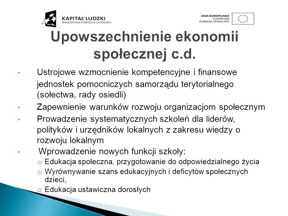 Upowszechnienie ekonomii społecznej c.d. Ustrojowe wzmocnienie kompetencyjne i finansowe jednostek pomocniczych samorządu terytorialnego (sołectwa, ra