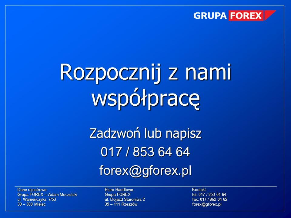 Dane rejestrowe:Biuro Handlowe:Kontakt: Grupa FOREX – Adam MoczulskiGrupa FOREXtel: 017 / 853 64 64 ul. Warneńczyka 7/53ul. Dojazd Staroniwa 2fax: 017