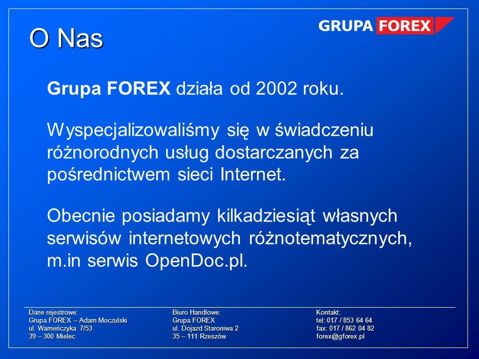 Grupa FOREX działa od 2002 roku. Wyspecjalizowaliśmy się w świadczeniu różnorodnych usług dostarczanych za pośrednictwem sieci Internet. Obecnie posia