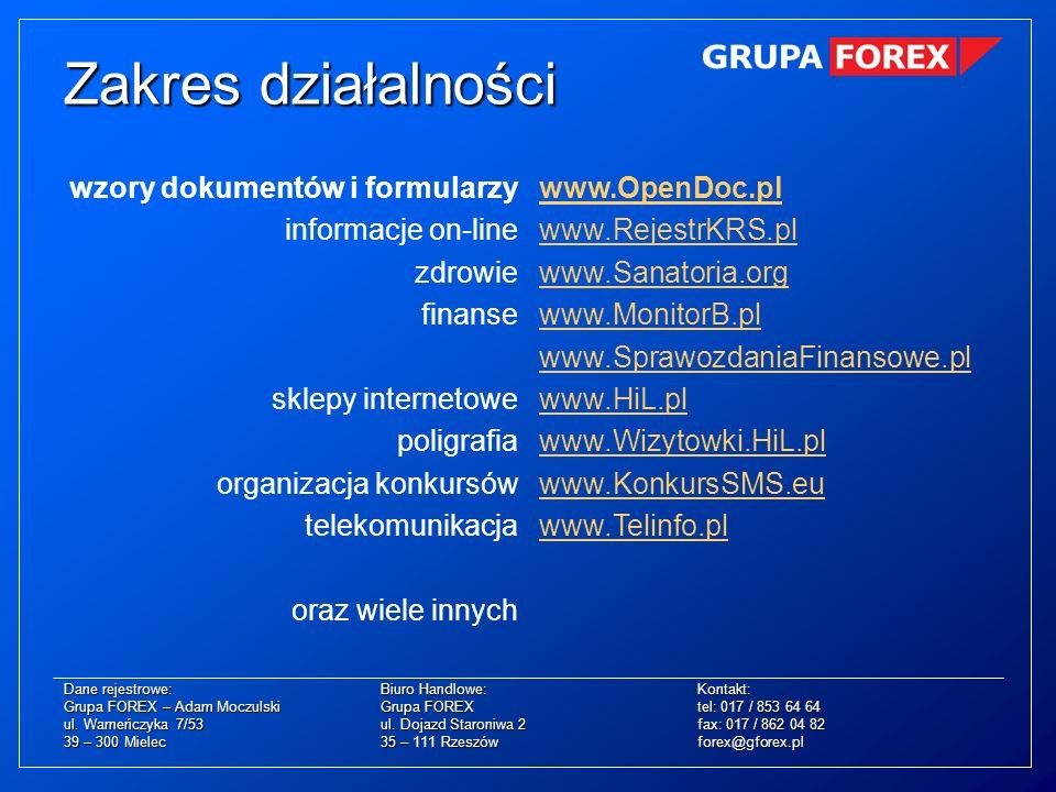 Zakres działalności wzory dokumentów i formularzy informacje on-line zdrowie finanse sklepy internetowe poligrafia organizacja konkursów telekomunikac