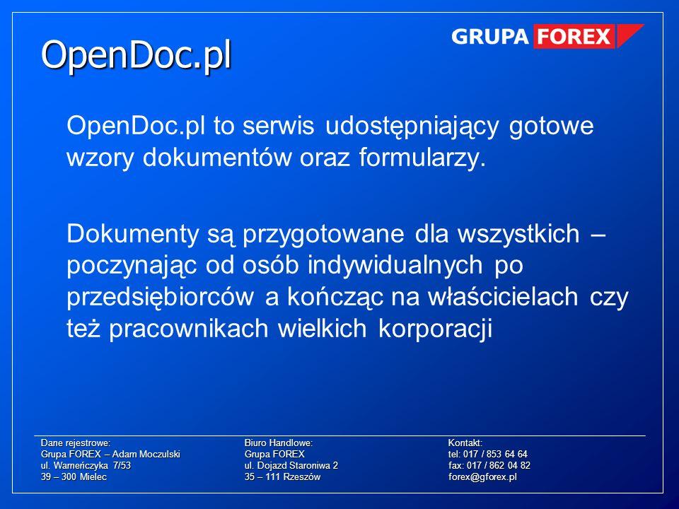 OpenDoc.pl to serwis udostępniający gotowe wzory dokumentów oraz formularzy. Dokumenty są przygotowane dla wszystkich – poczynając od osób indywidualn