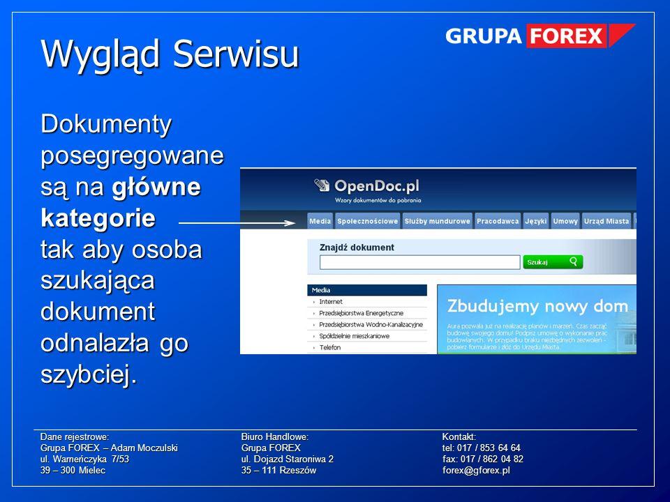 Dokumenty posegregowane są na główne kategorie tak aby osoba szukająca dokument odnalazła go szybciej. Wygląd Serwisu Dane rejestrowe:Biuro Handlowe:K