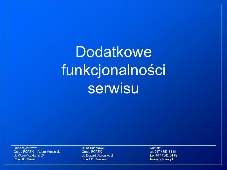 Dodatkowe funkcjonalności serwisu Dane rejestrowe:Biuro Handlowe:Kontakt: Grupa FOREX – Adam MoczulskiGrupa FOREXtel: 017 / 853 64 64 ul. Warneńczyka
