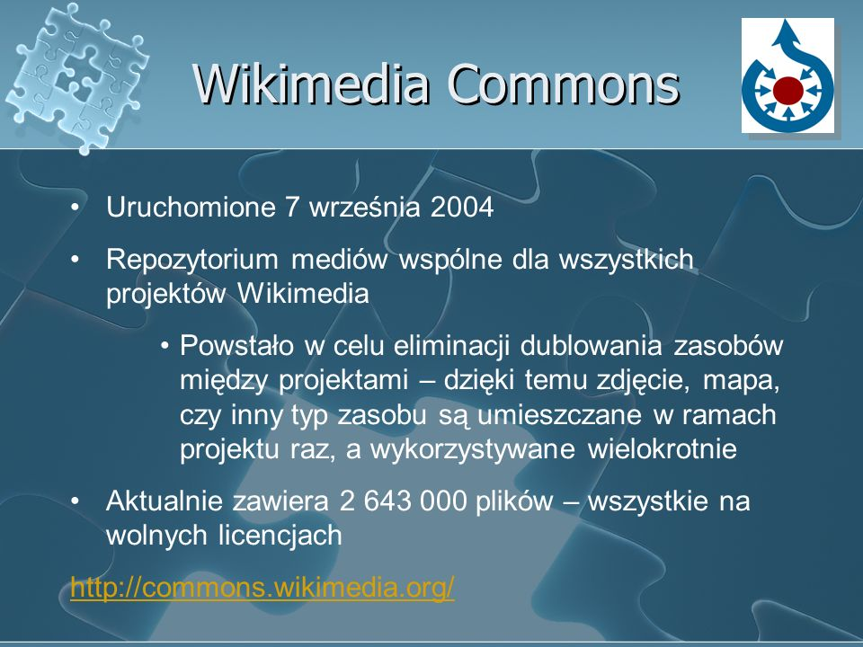 Wikimedia Commons Uruchomione 7 września 2004 Repozytorium mediów wspólne dla wszystkich projektów Wikimedia Powstało w celu eliminacji dublowania zas