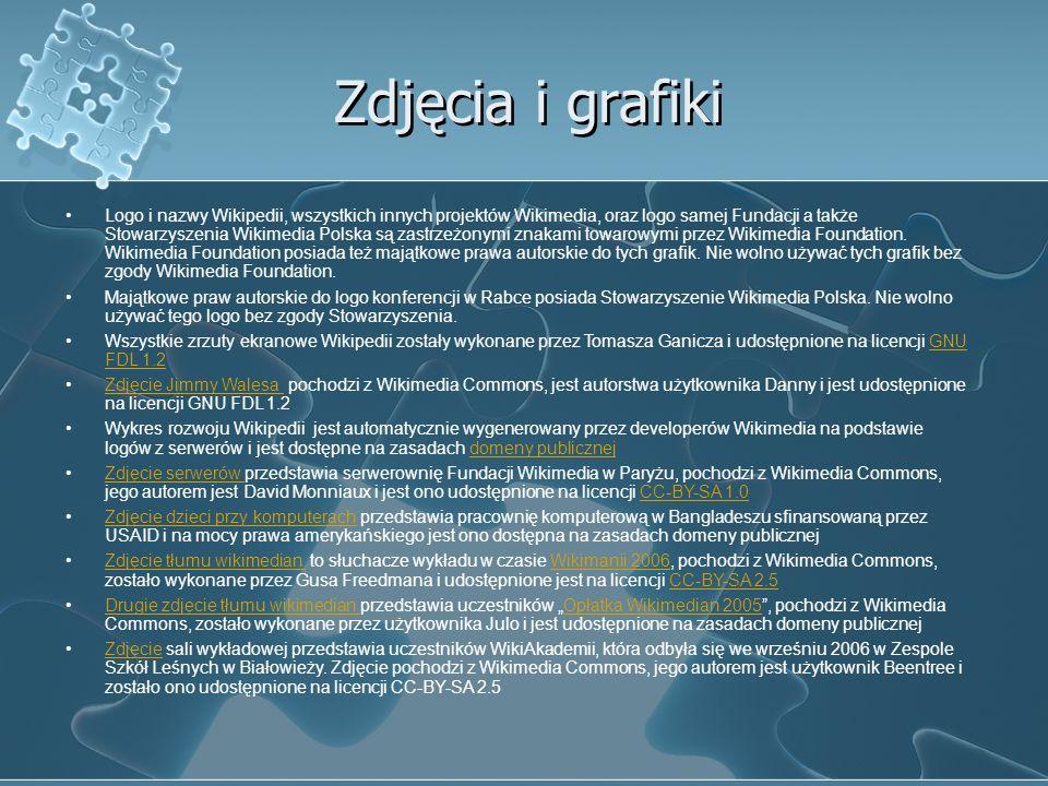 Zdjęcia i grafiki Logo i nazwy Wikipedii, wszystkich innych projektów Wikimedia, oraz logo samej Fundacji a także Stowarzyszenia Wikimedia Polska są z