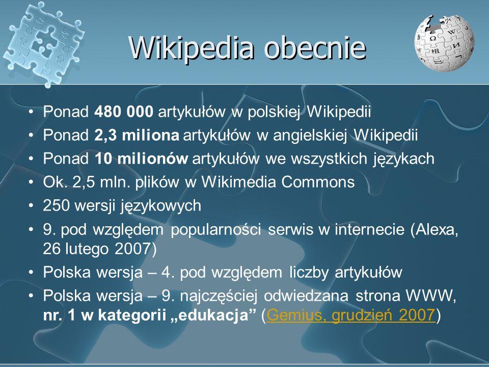 Wikipedia obecnie Ponad 480 000 artykułów w polskiej Wikipedii Ponad 2,3 miliona artykułów w angielskiej Wikipedii Ponad 10 milionów artykułów we wszy