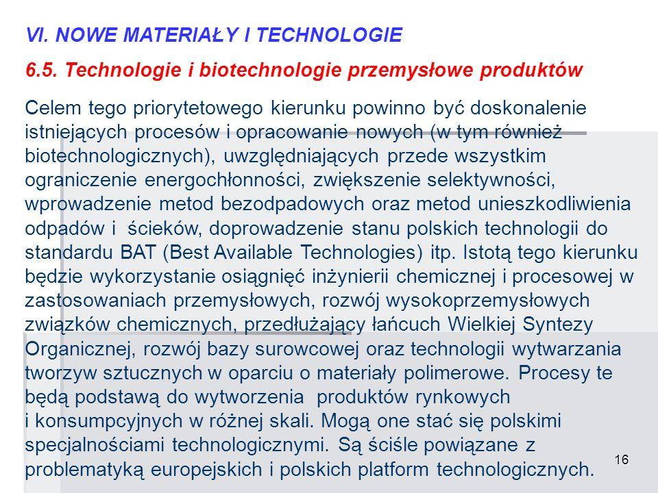 16 VI. NOWE MATERIAŁY I TECHNOLOGIE 6.5. Technologie i biotechnologie przemysłowe produktów Celem tego priorytetowego kierunku powinno być doskonaleni