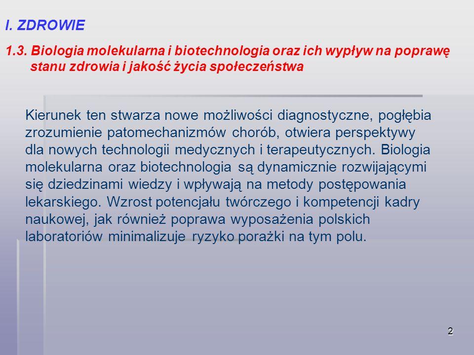 2 I. ZDROWIE 1.3. Biologia molekularna i biotechnologia oraz ich wypływ na poprawę stanu zdrowia i jakość życia społeczeństwa Kierunek ten stwarza now