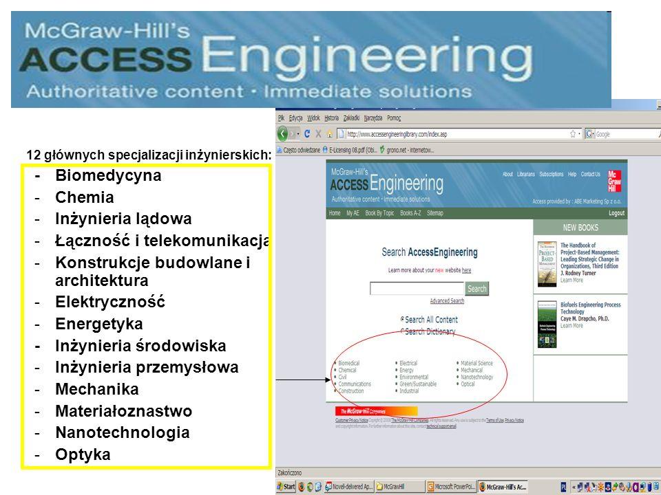 12 głównych specjalizacji inżynierskich: -Biomedycyna -Chemia -Inżynieria lądowa -Łączność i telekomunikacja -Konstrukcje budowlane i architektura -Elektryczność -Energetyka -Inżynieria środowiska -Inżynieria przemysłowa -Mechanika -Materiałoznastwo -Nanotechnologia -Optyka