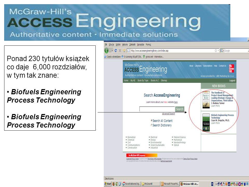 Ponad 230 tytułów książek co daje 6,000 rozdziałów, w tym tak znane: Biofuels Engineering Process Technology