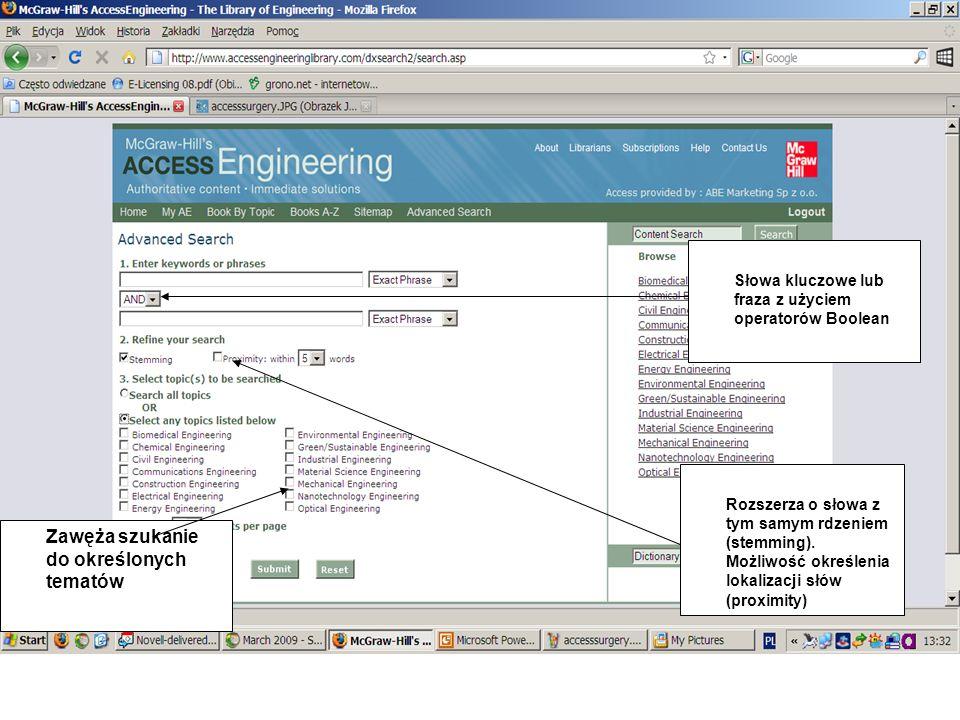 Search Dictionary – szukanie oparte na McGraw-Hill Dictionary of Engineering, zawierającym ponad 18,000.